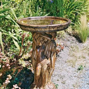 3 Graces Birdbath, stained concrete bird bath for outdoor garden or patio