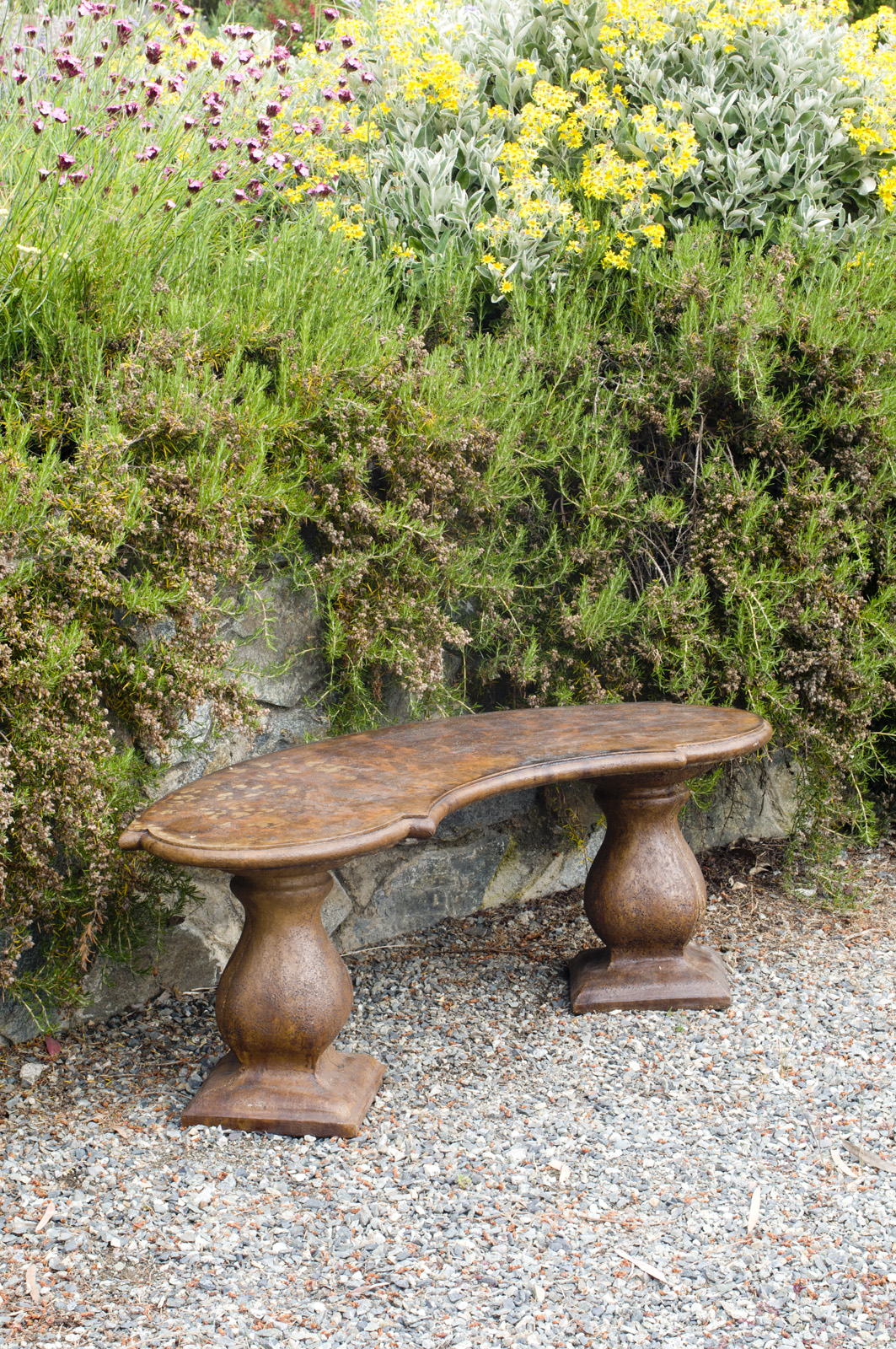 Traditional Colonial Curved Bench , stained concrete furniture for outdoor garden or patio