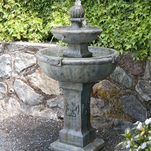American Colonial Fountain, stained concrete water feature for outdoor garden or patio