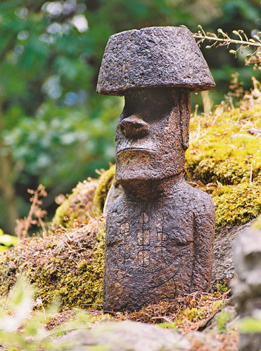 Akahanga, stained concrete Easter Island statue for outdoor garden or patio