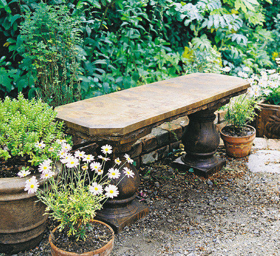 Classic Garden Bench, stained concrete furniture for outdoor garden or patio