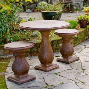 Bistro Table and Stolls, stained concrete furniture set for outdoor garden or patio