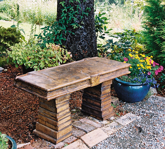 Seat of Wisdom Book Bench, stained concrete furniture for outdoor garden or patio