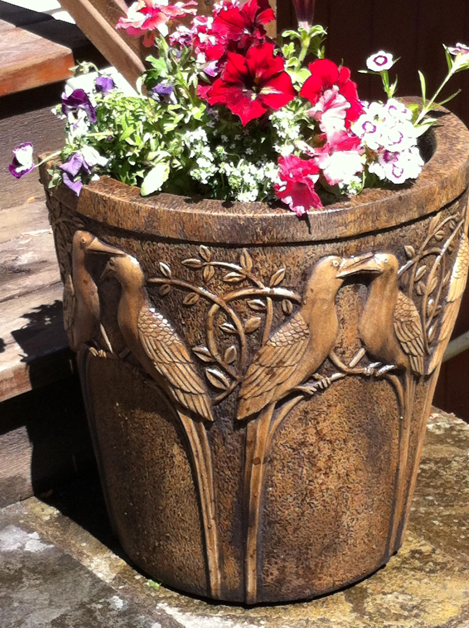 Birds of Paradise Pot holder acid stained concrete planter for outdoor garden or patio