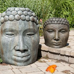 Buddha Face Large and Medium, stained concrete faces for outdoor garden or patio