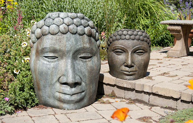 Amazing Buddha Face Large And Medium, Stained Concrete Faces For Outdoor Garden Or  Patio