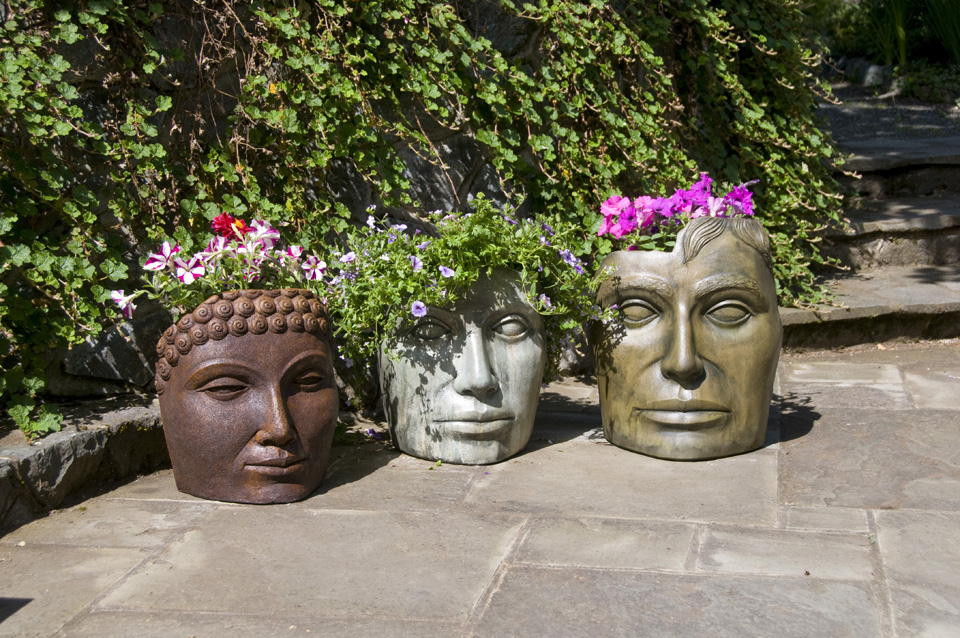Pot Holders - Medium Buddha, Medium Portrait of Mother Natutre, Medium Young Emperor, stained concrete planters for outdoor garden or patio