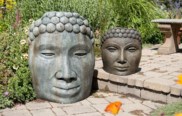 Buddha Face Large and Medium, stained concrete statues for outdoor garden or patio