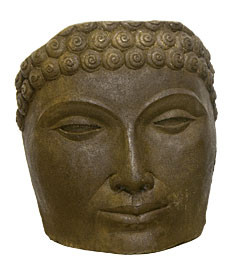 Buddha face Medium, stained concrete face for outdoor garden or patio