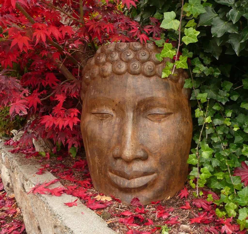 Buddha face Large, stained concrete face for outdoor garden or patio