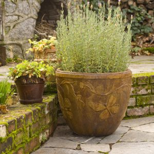 Butterfly Pot, stained concrete planter for outdoor garden or patio