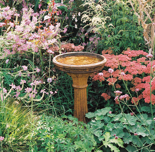 Classic Birdbath, stained concrete bird bath for outdoor garden or patio