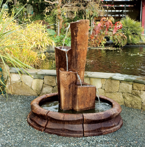 Crystal Fountain, stained concrete water feature for outdoor garden or patio