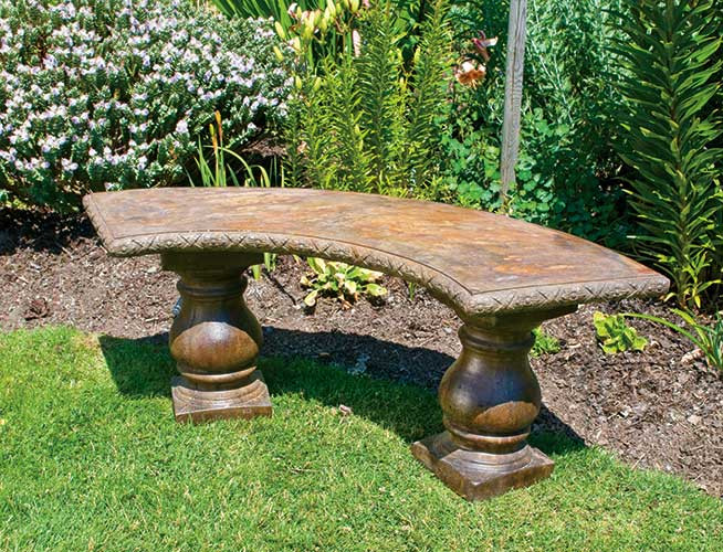 Curved Bench, stained concrete furniture for outdoor garden or patio