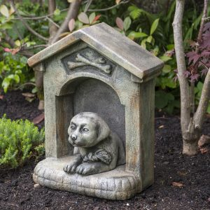 Daisy In The Doghouse, stained concrete dog for outdoor garden or patio