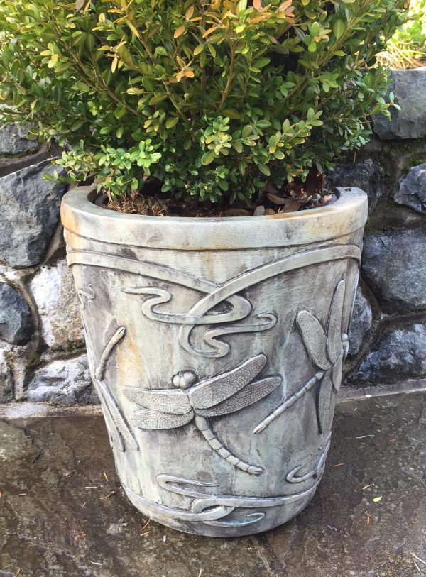 Swap a Pot, Dragonfly, stained concrete planter for outdoor garden or patio