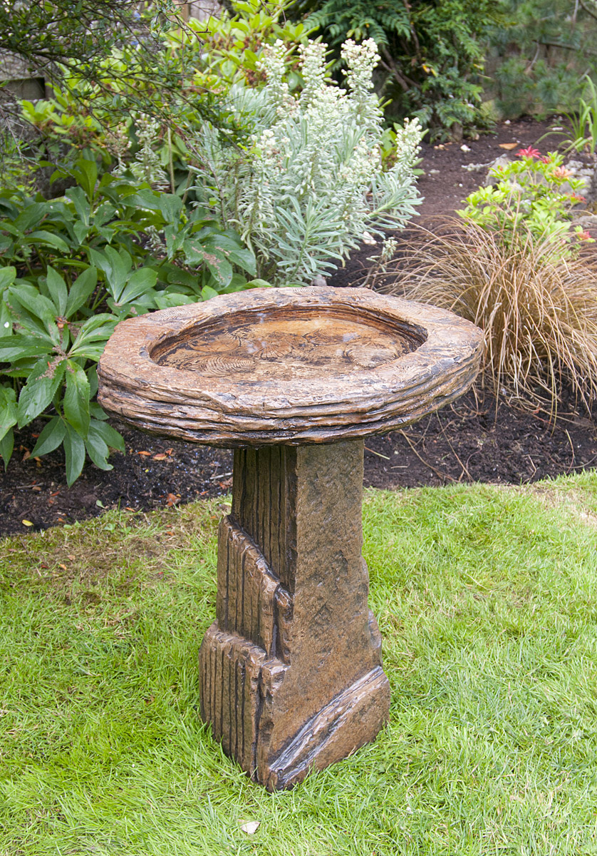 Fossil Bird Bath, stained concrete birbath for outdoor garden or patio