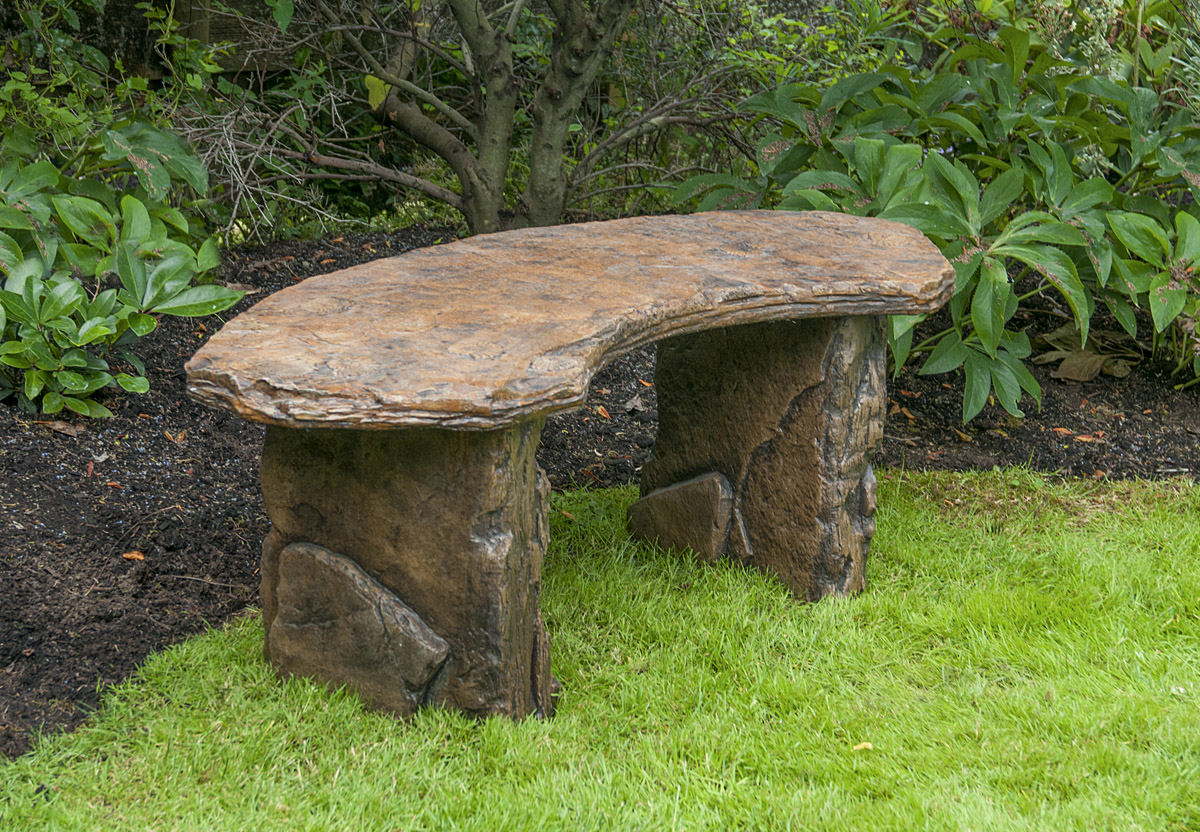 Fossil Bench Curved, stained concrete furniture for outdoor garden or patio