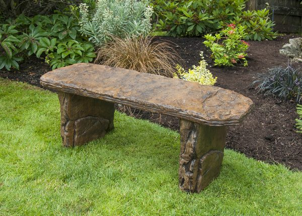 Fossil Bench Staright, stained concrete furntiure for outdoor garden or patio