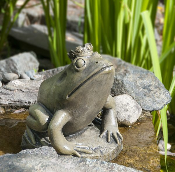Frog Prince, stained concrete animal for outdoor garden or water feature