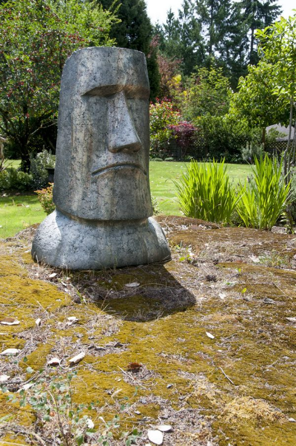 Giant Rapa Nui, stained concrete easter Island Megalith for outdoor garden or patio