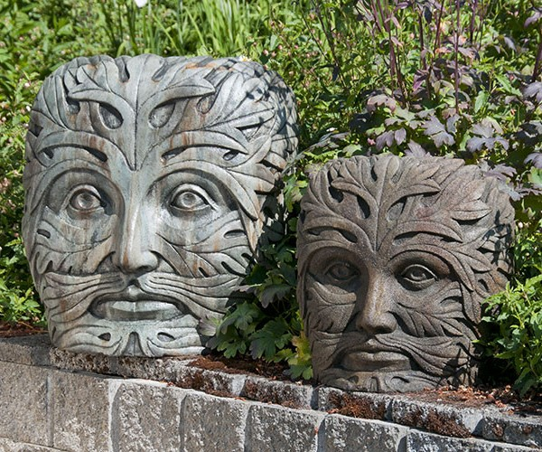 Greenman Face Large And Medium, Stained Concrete Faces For Outdoor Garden  Or Patio