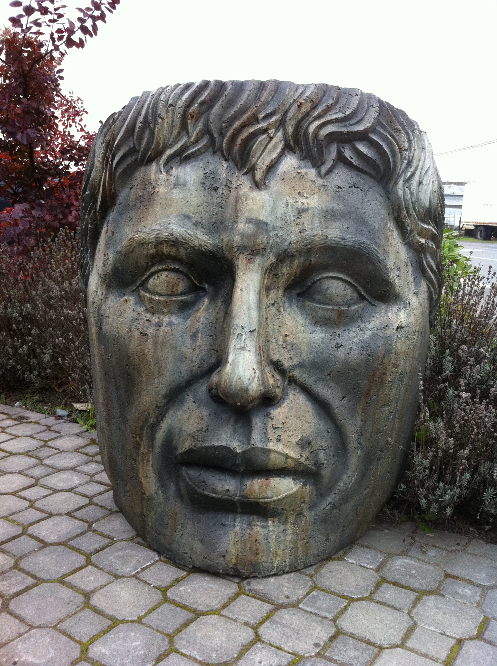 Giant Young Emperor stained concrete face statue for garden or patio