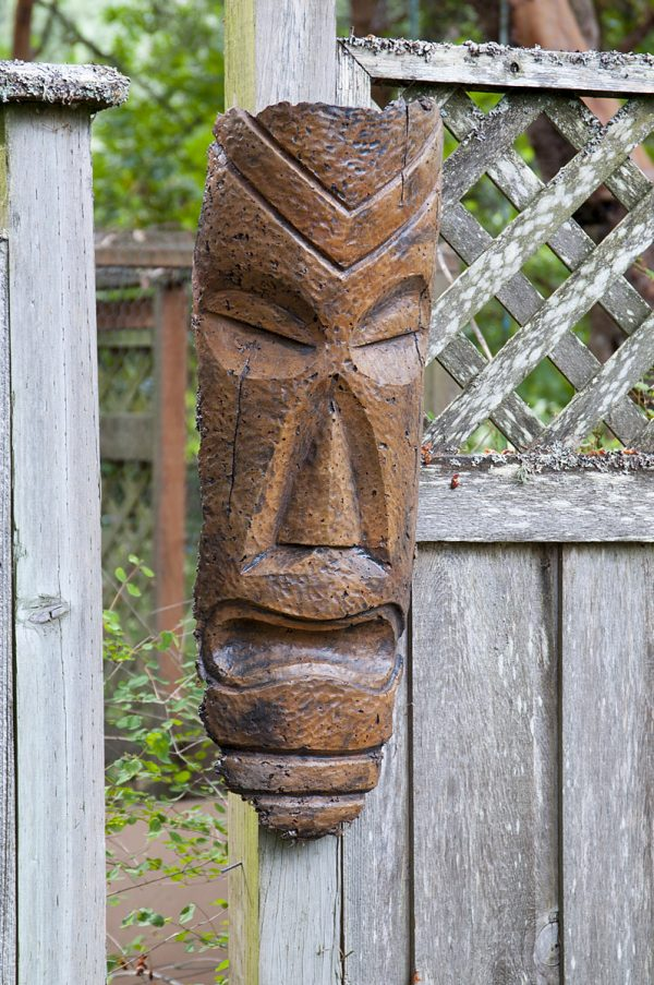 Hanging Polynesian Tiki Mask, stained concrete ornament for outdoor garden or patio