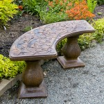 Hummingbird Bench Curved, stained concrete furniture for outdoor garden or patio