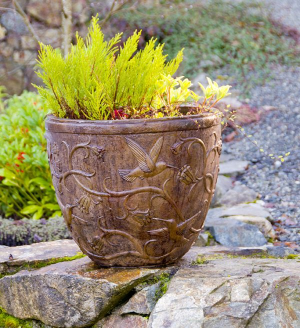Hummingbird Pot concrete planter for garedn or patio