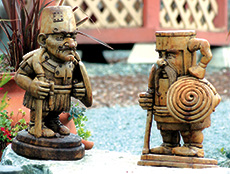Count Jacques de Buckette & Sir Dugless of Canalotconcrete garden knights