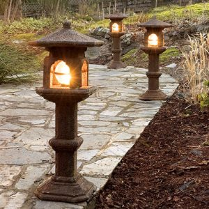 Japanese Lamp, stained concrete lantern for outdoor garden or patio