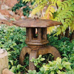 Japanese Lantern Kosai, stained concrete lamp for outdoor garden or patio