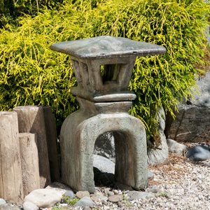 Japanese Lantern Kukei, stained concrete lamp for outdoor garden or patio