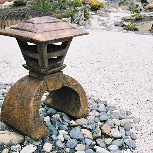 Japanese Lantern Mashikaku, stained concrete lamp for outdoor garden or patio