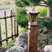 Japanese Lantern Saiseki, stained concrete lamp for outdoor garden or patio
