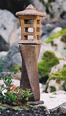 Japanese Lantern Yojiru, stained concrete lamp for outdoor garden or patio