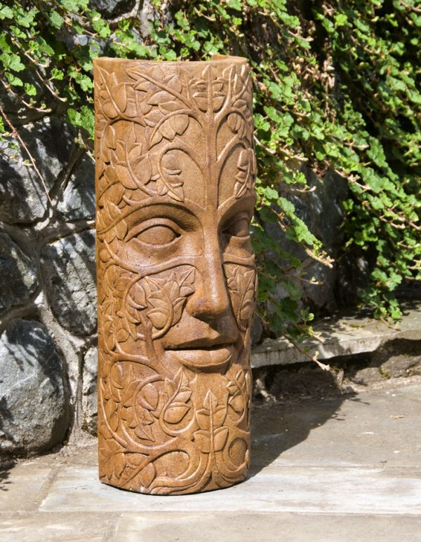 Leaf Maiden Mask Large, stained concrete face statue for outdoor garden or patio