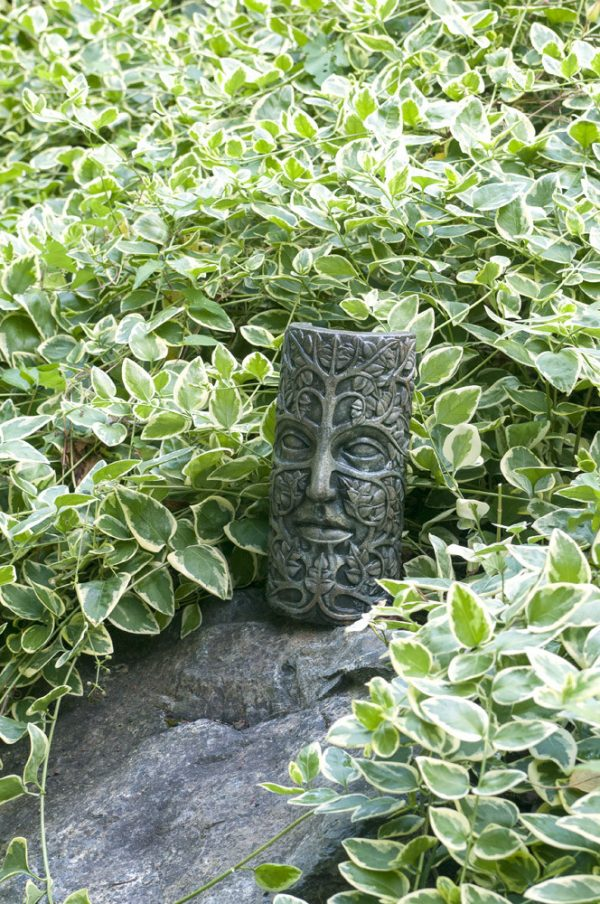 Leaf Maiden Mask Small, stained concrete face for outdoor garden or patio