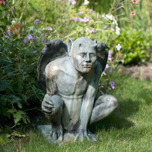 Medium Benedict Gargoyle medieval concrete statue for garden