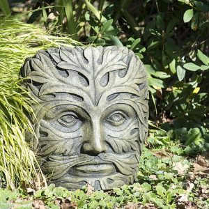 Medium Green Man face statue, ornament for the garden
