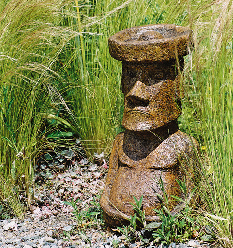 Medium Rapa nui, stained concrete Easter Island statue for outdoor garden or patio