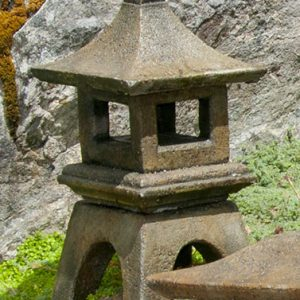 Mini Japanese Lantern Osaka, stained concrete lamp for outdoor garden or patio