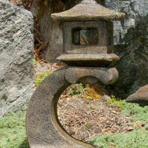 Mini Japanese Lantern Tokyo, stained concrete lamp for outdoor garden or patio