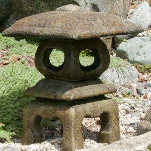 Mini Japanese Lantern Yokahama, stained concrete lamp for outdoor garden or patio