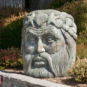 Neptune, stained concrete Face for outdoor garden or patio