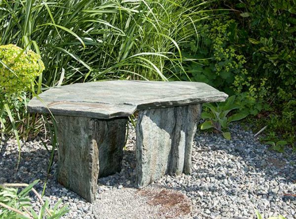 Pensylvania Slate Bench, stained concrete furniture for outdoor garden or patio