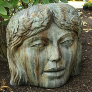 Princess of the Garden, stained concrete face for outdoor garden or patio