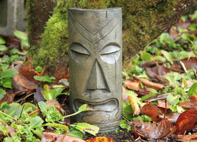 Polynesian Tiki Mask Small, stained concrete Face for outdoor garden or patio
