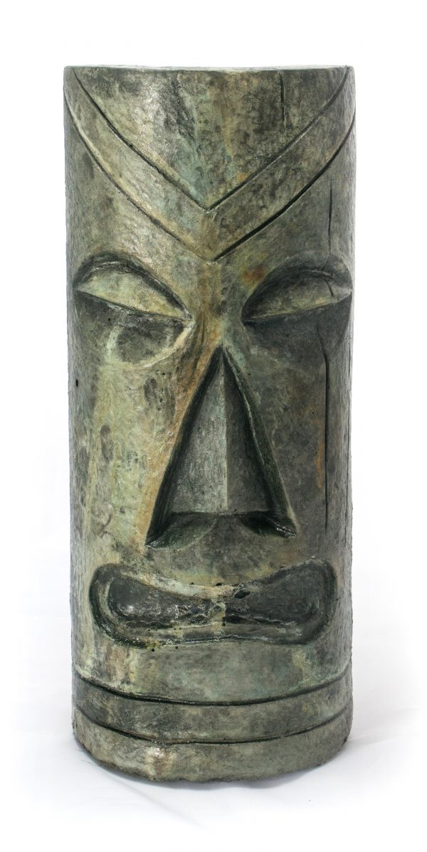 Polynesian Tiki Mask Small acid stained concrete statue for garden or patio